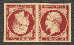 France: 1853-61, 1 franc carmine, an unused tête-bêche pair.